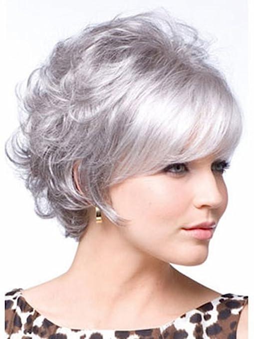 Royalfirst Pelucas para mujer, peluca corta, peluca de pelo gris plata, peluca para