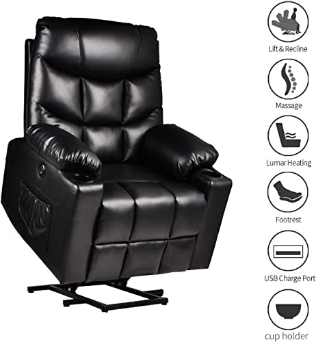 BINGTOO Electric Lift Recliner Chairs for Elderly, Leather Power Lift Recliner Chair with Massage and Heating, with USB Ports, 2 Side Pockets and Cup Holders Black