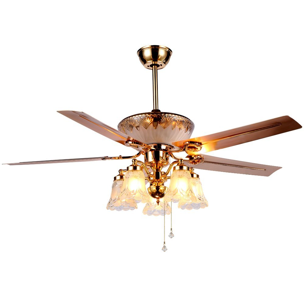 Tropicalfan Modern Crystal Celing Fan Remote Control With 5 Glass Light Cover Hotel Home Decoration Living Room LED Mute Electric Fan Chandeliers 5 Metal Reversible Blades 52 Inch