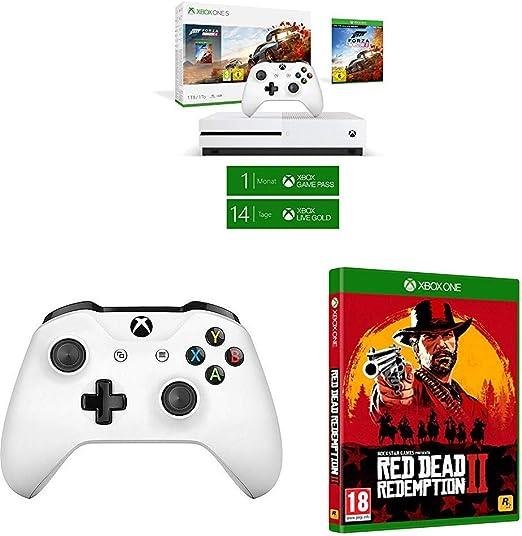 Microsoft Xbox One S - Consola 1 TB + Forza Horizon 4 + Red Dead Redemption 2 (Xbox One) + Microsoft Xbox Wireless Controller Blanco Gamepad PC, Xbox One S - Volante/mando: Amazon.es: Videojuegos