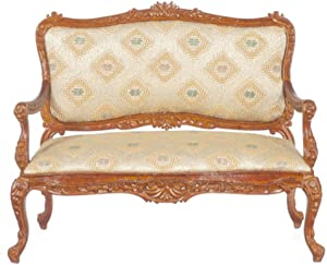 Dolls House Walnut Louis XV Rococo Gold Sofa Settee Miniature JBM Furniture 1:12