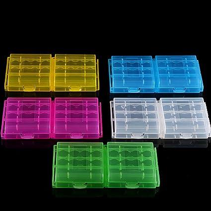 Caja De Almacenamiento De La Batería En Cinco Colores, Caja De Plástico Rígido Transparente Multifunción, Soporte De Batería para Batería AA/AAA: Amazon.es: Electrónica