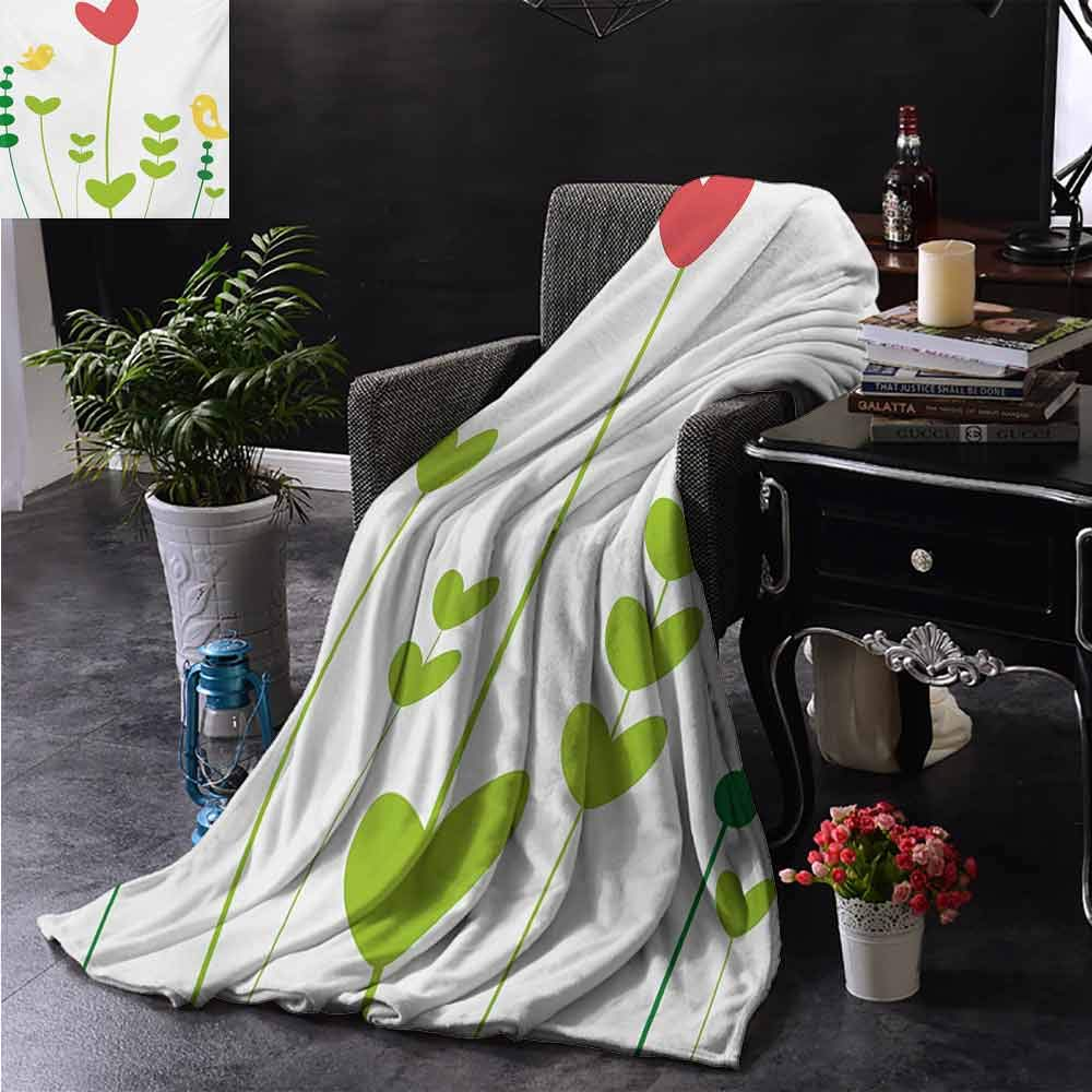 PCNBDJC Bedroom Blanket Love Birds with Valentines Heart Shaped Petals Nature Inspirations Image Keep Warm W60 x L91 Inch Dark Coral Yellow Green