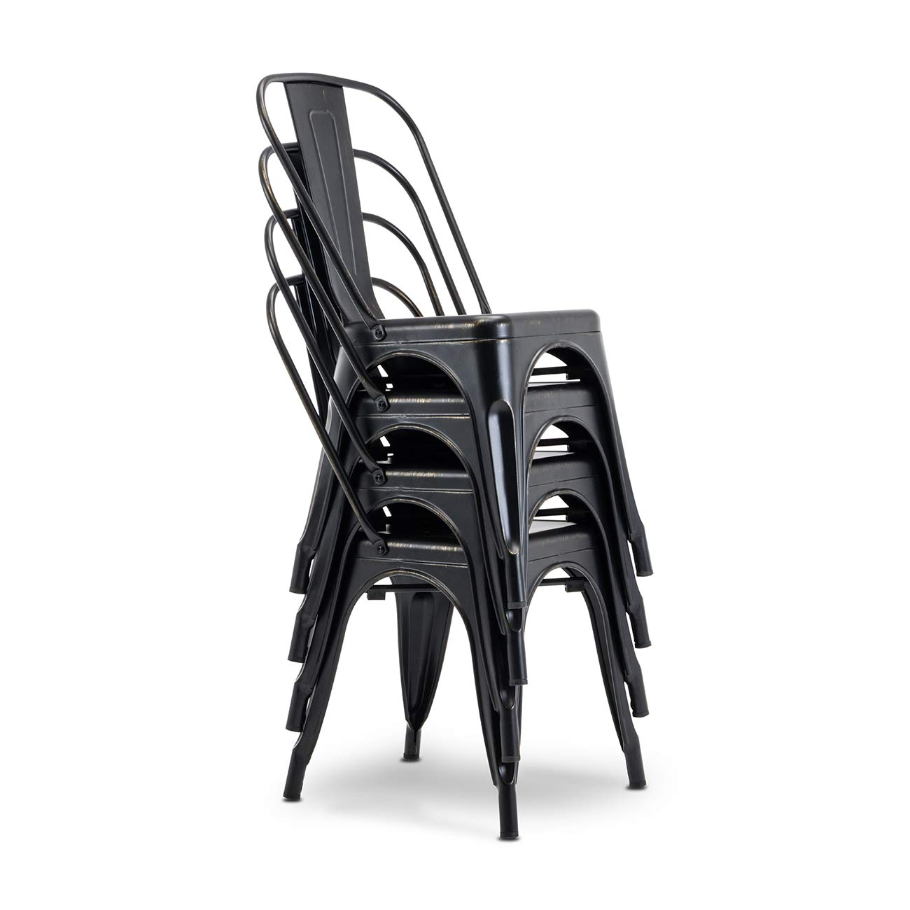 Belleze Set of 4 Trattoria Modern Dining Chair Heavy Duty Metal Stackable Chairs w High Backrest, Antique Black