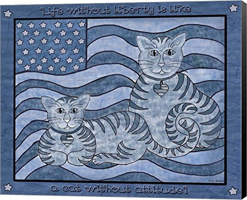 Patriotic Cats by Tina Nichols Canvas Art Wall Picture, Museum