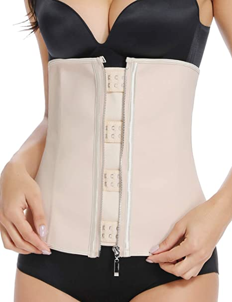 125306762 MISS MOLY Latex Waist Trainer Cincher Zip Hook Tummy Control Shapewear  Women Steel Boned Corset Plus Size at Amazon Women s Clothing store