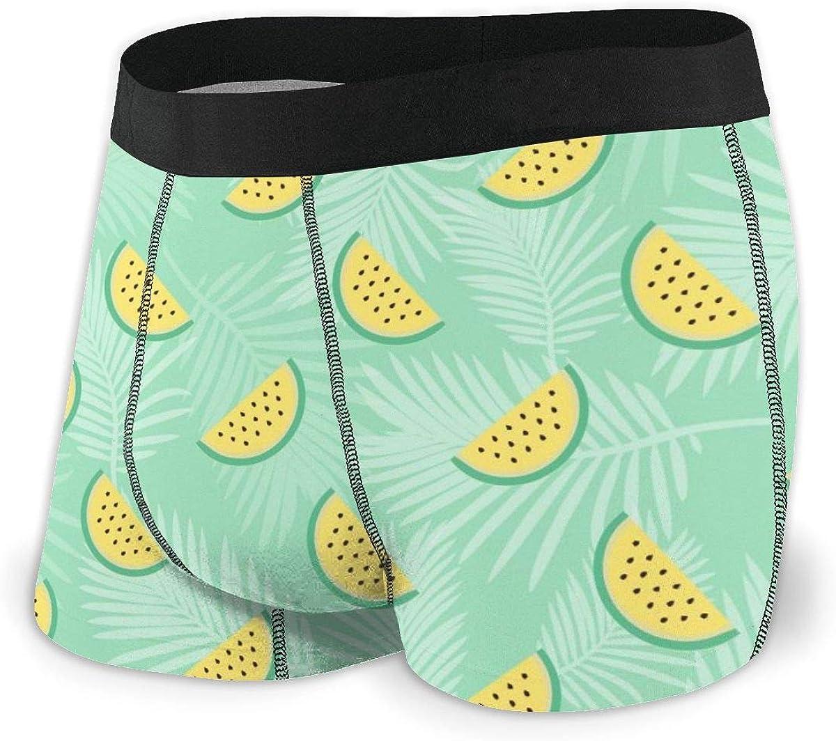 N /A Mens Boxer Briefs Watermelon Turquoise Green Boys Trunks Underwear Short Leg Breathable Man