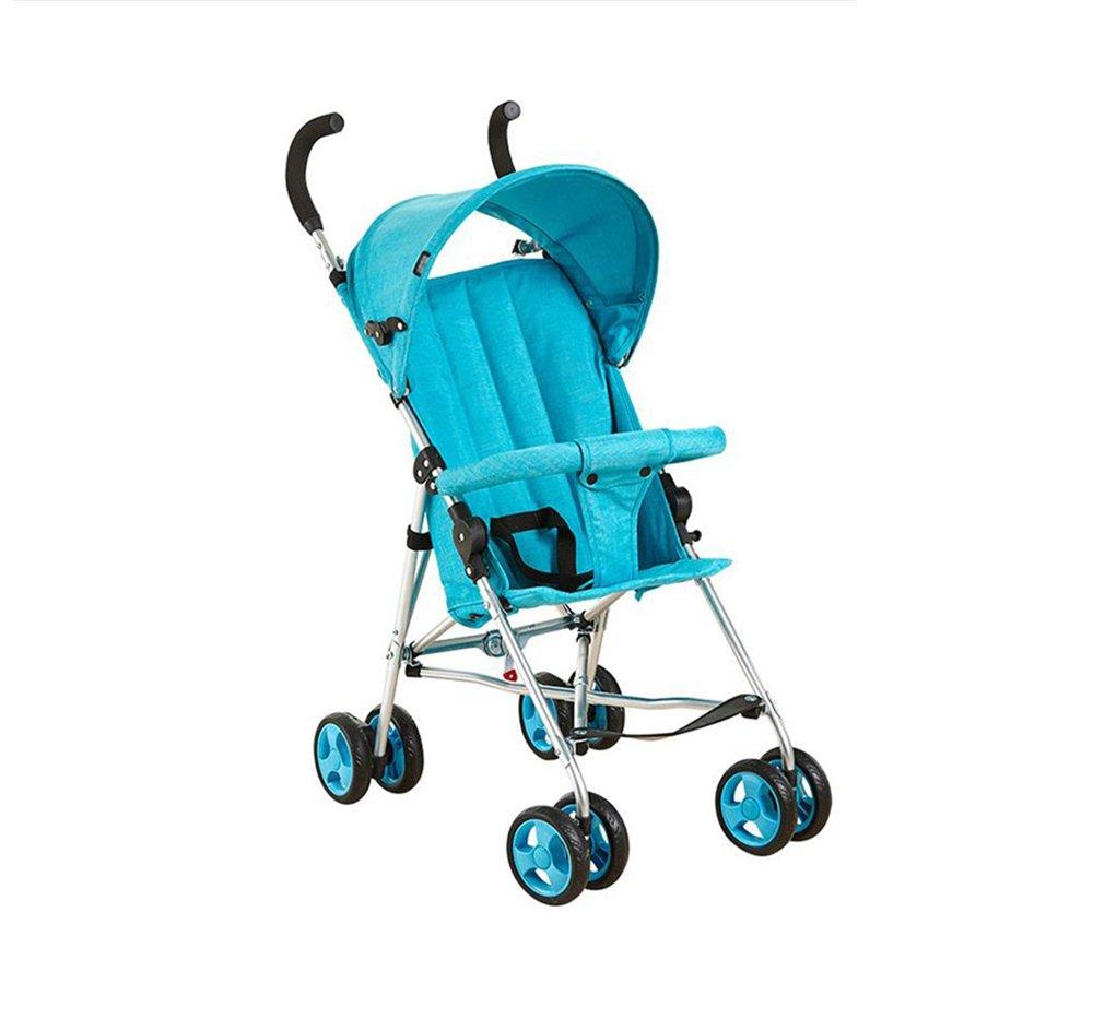 ベビートローリーウルトラポータブルシンプルなショックプルーフアンブレラカーチャイルドカーフォールディング四輪車(青)   B07PYFMJVT