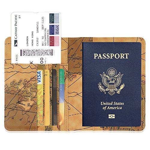GDTK Leather Passport Holder Cover Case RFID Blocking Travel Wallet