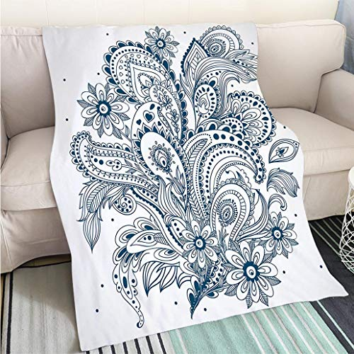 Custom homelife Abstract Home Decor Printing Blanket Henna Doodle Style Floral Arrangement with Ornament Design Abstract Leaves Image Print Decorative Fun Design All-Season Blanket Bed or Couch