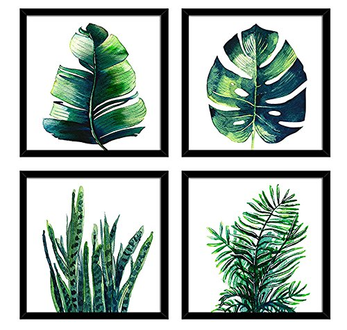 """Black Photos Frame Green Plant Leaves Series Canvas Print Wall Art Posters Tropical Greenery Botanical Banana Leaf Houseplant Pictures Framed 12"""" x 12"""" 4 Pieces/Set Bedroom Office Homes Decorations"""