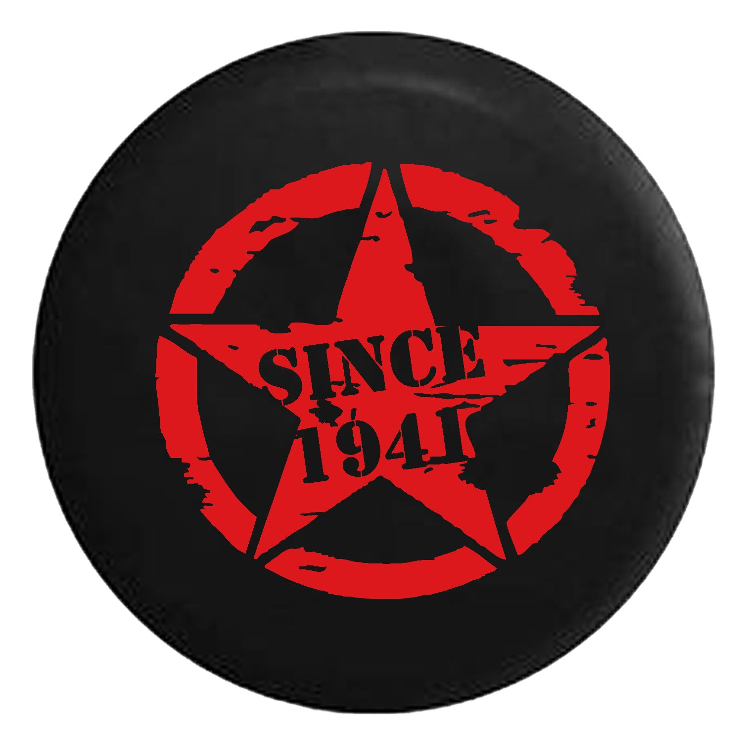 Since 1941 Oscar Mike Military Tattered Star Spare Jeep Wrangler Camper SUV Tire Cover Gray Ink 33 in