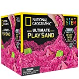 National Geographic Play Sand - 6 LBS of Sand with Castle Molds and Tray (Pink) - A Kinetic Sensory Activity