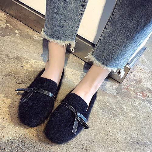 Terciopelo Poco De Zapatos Mujer Antideslizante 01 Invierno Profundos Perezosos Lazo Para Más Planos Arco 4nHPY