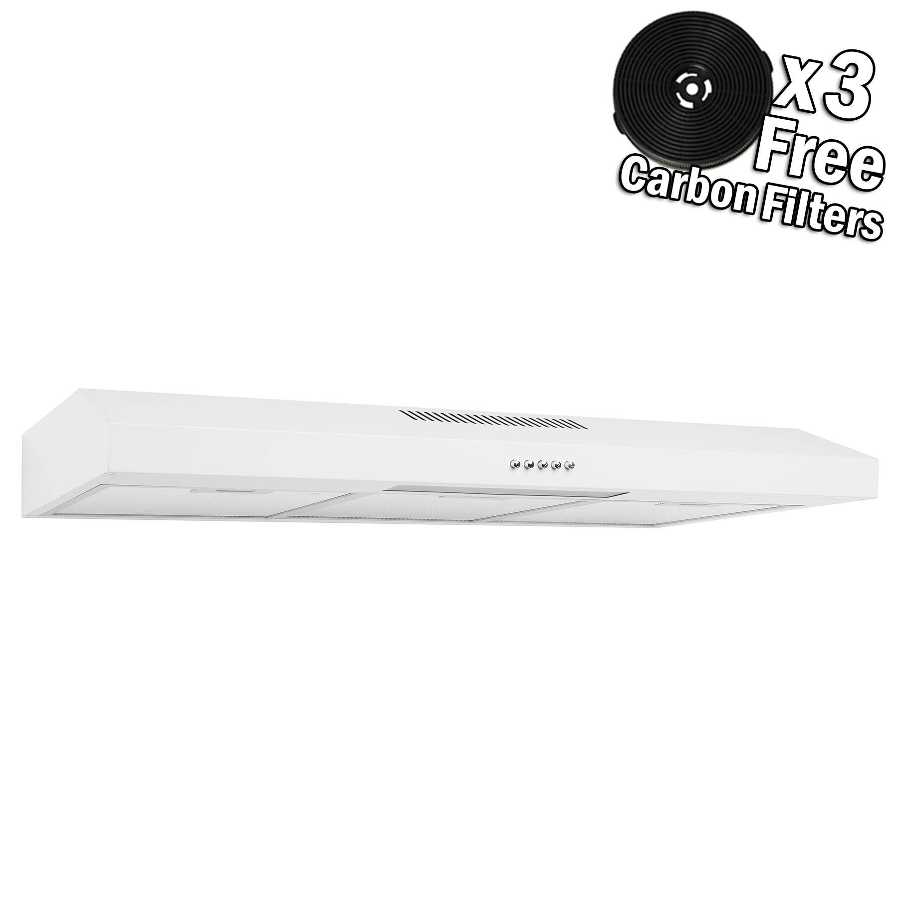 AKDY 36'' Under Cabinet White Stainless Steel Push Panel Kitchen Range Hood Cooking Fan w/Carbon Filters