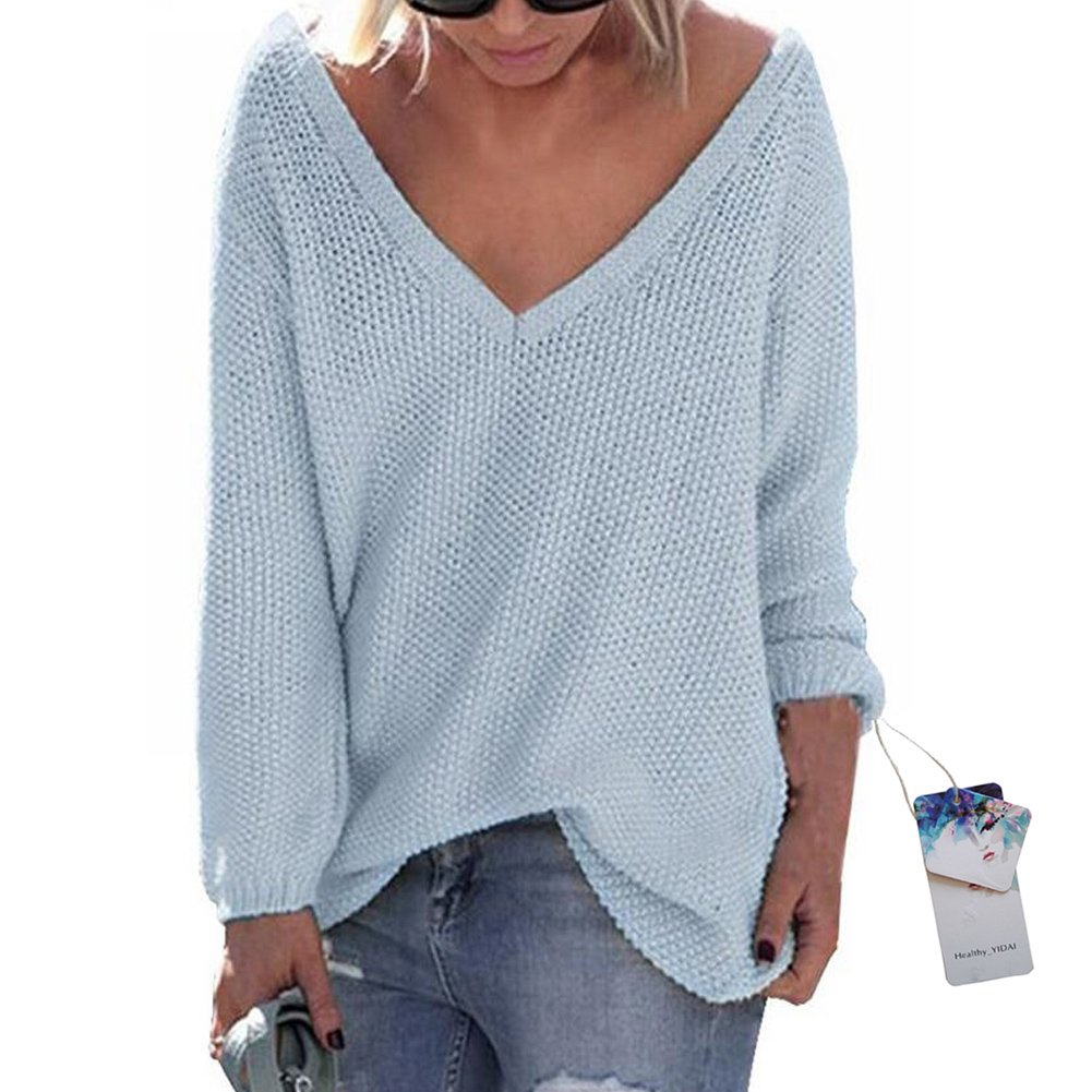 Healthy_YIDAI Women's Casual Autumn V Neck Loose Knit Pullover Tops Sweater Jumper Light Blue Size XL