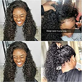 Human Hair Wigs Glueless Wigs Deep Wave Lace Frontal Wigs Wet and Wave Wigs for Black Women Lace Frontal Wigs with Baby Hair Pre Plucked for Black Women 150% Density 100% Unprocessed Lace Front Wigs