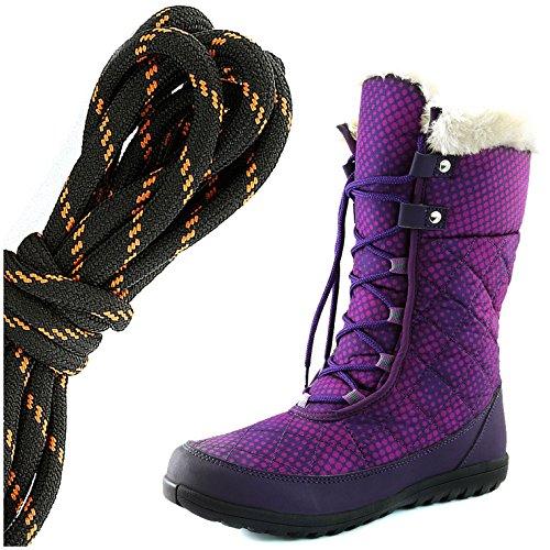 Daily Shoe Mujeres Comfort Round Toe Mid Becerro Flat Tobillo High Eskimo Winter Fur Botas De Nieve, Negro Naranja Púrpura Dots