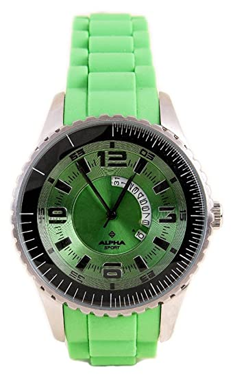 Alpha Saphir 231F - Reloj de caballero de cuarzo, correa de caucho color verde: Amazon.es: Relojes