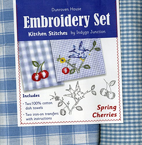 Dunroven House Spring Cherries Kitchen Stitches Embroidery Set, Blue and White Check