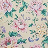 Peonies and Field Flowers Tapestry Print on Pastel Beige 100% Cotton Vintage Print by Waverly Fabrics VAT Dyes Dupont Teflon Stain Resistant Upholstery Gradex2133; 54