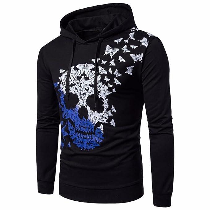 UK Womens Ladies Skull Printed Hoodies Sweatshirt Jumper Long Sleeve Hooded Tops