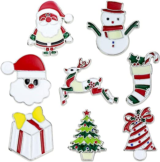 CHRISTMAS FLASHING BADGE BROOCHES  SET OF 6  NOVELTY LED PARTY DINNER SANTA TREE