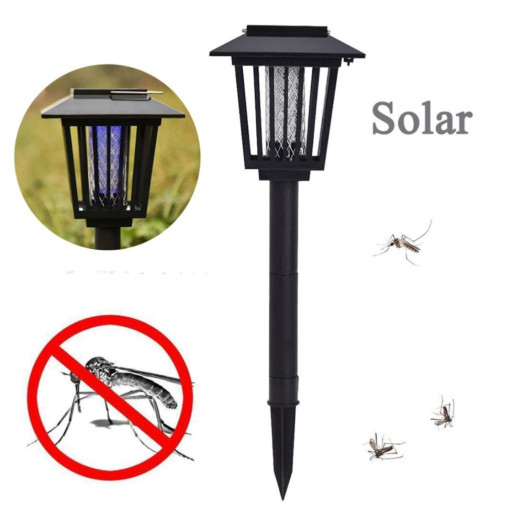 Unpara New Upgraded Solar Insect Zapper - Enhanced Outdoor Flying Insect Killer & Bug Zapper With Hanging and Insertion - Mosquito Insect Zapper Garden Light Lamp (Black)