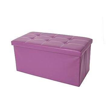Rebecca Mobili Puf reposapiés, contenedor puff, asiento taburete rectangular, viola- Medidas: 38 x 76 x 38 cm (AxANxF) - Art. RE4903