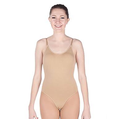 27e53787a0a Danzcue Women s Camisole Undergarment Leotard With Adjustable Straps