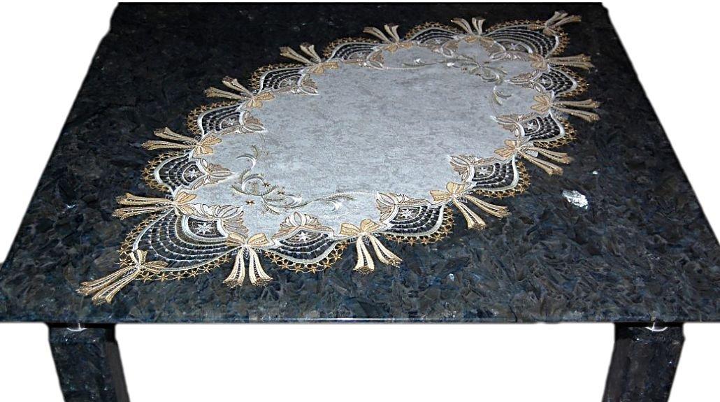Bezaubernde Tischdecke Weihnachten 55x115 cm oval Plauener Spitze ® SCHLEIFE beige gold üppig Spitzendecke Advent (Tischläufer 55x115 cm)