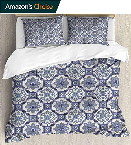 (carmaxs-home European Style Print Bed Set,Box Stitched,Soft,Breathable,Hypoallergenic,Fade Resistant 100% Cotton Bedspread/Quilt Set,3 Pieces-N Arabesque Floral Octagonal (80