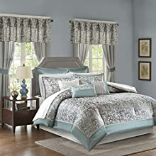 Madison Park Essentials Brystol Queen Size Bed Comforter Set Room in A Bag - Teal, Grey, Jacquard Embroidered Paisley – 24 Pieces Bedding Sets – Faux Silk Bedroom Comforters