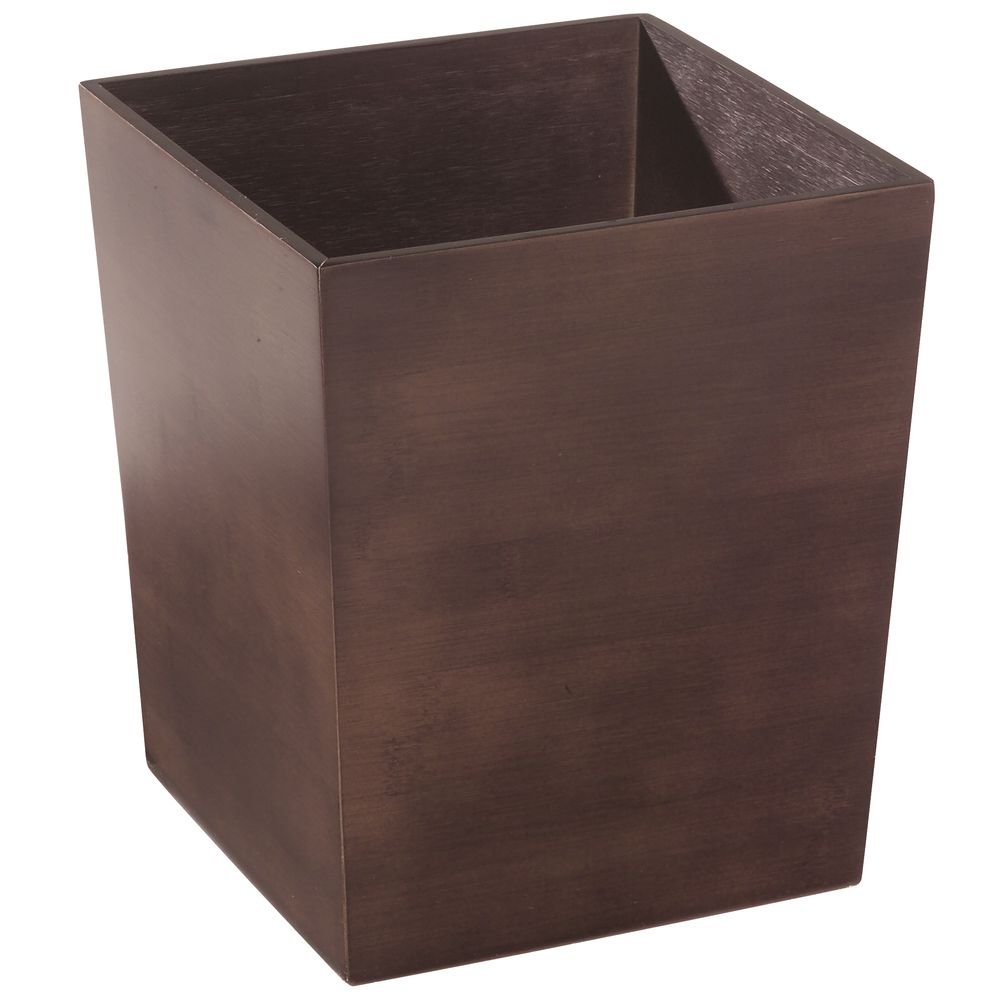 """CDM product InterDesign Formbu Wood Wastebasket, Small Square Trash Can for Bathroom, Bedroom, Dorm, College, Office, 8.5"""" x 8.5"""" x 10"""", Brown Bamboo big image"""