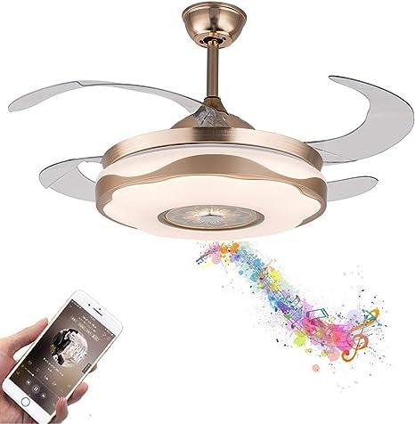 "42/"" Bluetooth Music Player Chandelier  LED 3-Color Change Ceiling Fan Light Lamp"