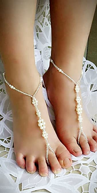 09e7be48f6ba Amazon.com  Wedding Foot Jewelry Barefoot Sandals Crystal Flowers ...