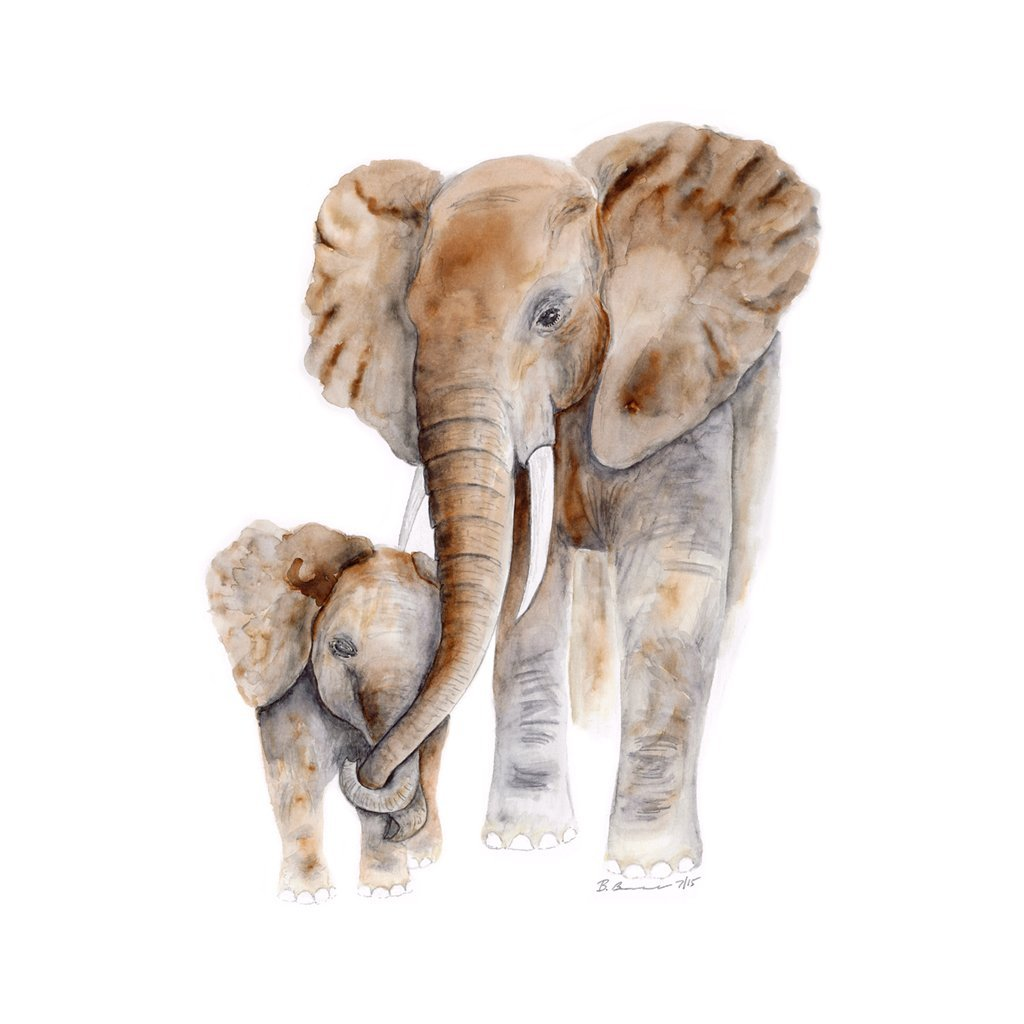 Various Sizes Available Baby Elephant Watercolor Grey Safari Animal Nursery Print Brown