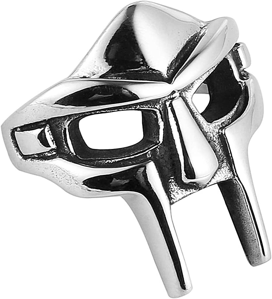 HZMAN Men's Gothic Biker Punk Vintage Stainless Steel Ring Spartan Mask Helmet Nordic Pagan Viking Rings
