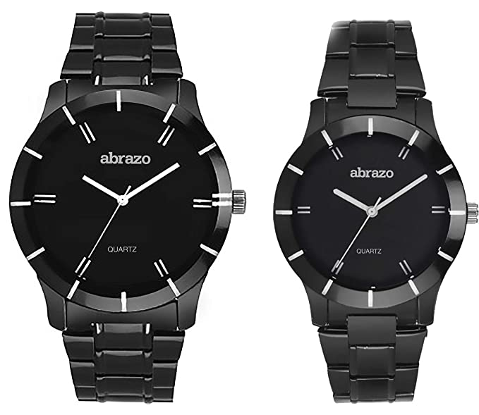 Analogue Black Dial Couple Watches -035