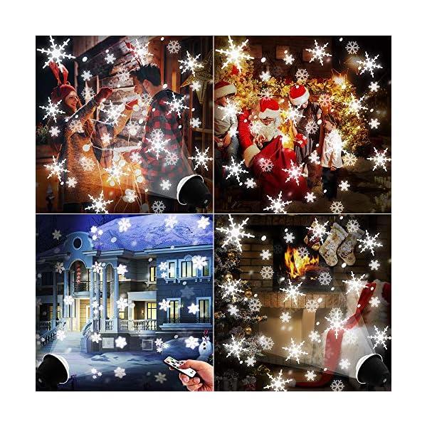 Lightess Luci del Proiettore Natale LED Proiettore Decorativo Effetto Fiocchi di Neve 4 Modalità Impermeabile IP65 con Telecomando Faretti Esterno per Festa, Natale, Halloween, Giardino (S2) 2 spesavip