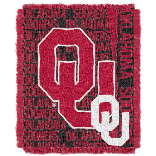 The Northwest Company Officially Licensed NCAA Oklahoma Sooners Double Play Jacquard Throw Blanket, 48
