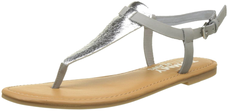 Hilfiger Denim Damen Metallic Flat Thong Sandal T-Spangen  41 EU Silber (Silver 000)