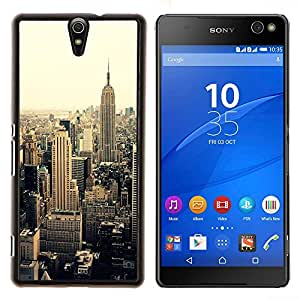YiPhone /// Prima de resorte delgada de la cubierta del caso de Shell Armor - nueva york sepia viñeta amarilla - Sony Xperia C5 Ultra