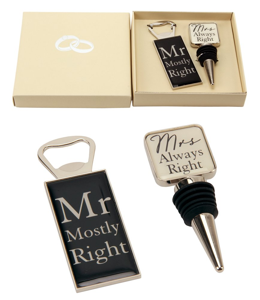''Mr Right & Mrs Always Right'' Wine Bottle Stopper and Opener Special Gift Set By Haysom Interiors