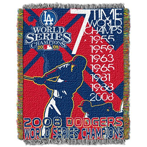 y MLB Los Angeles Dodgers Commemorative Woven Tapestry Throw, 48