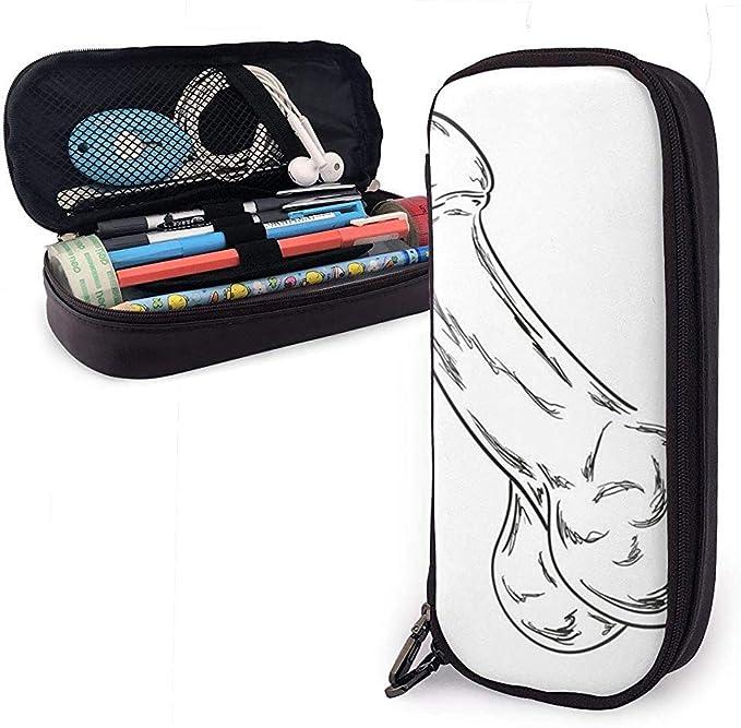 Dibujo de pene humano Bolígrafo lindo Estuche de lápices de cuero de gran capacidad Cremalleras dobles Bolsa de lápices Bolsa Estuche para lápices Niñas Niños Adultos: Amazon.es: Oficina y papelería
