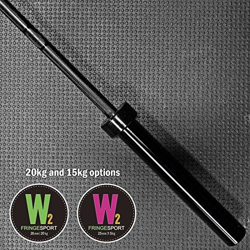 Olympic Barbell with Black Zinc for Weightlifting / CrossFit / Powerlifting / 2 inch Sleeves (20kg Men and 15kg Womens Bar)
