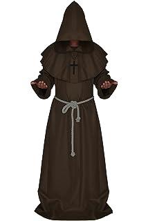 Smartrich Disfraz de Monje Fraile Medieval Monje Encapuchado ...