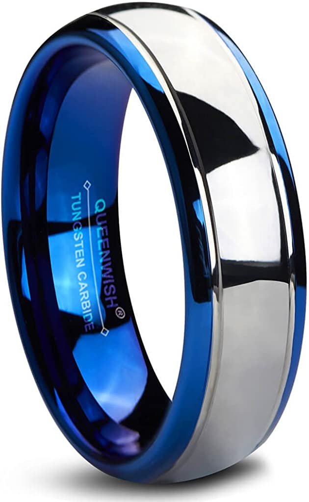 Queenwish 6/8mm Tungsten Carbide Wedding Bands Blue Silver Dome Bridal Engagement Rings for Couples