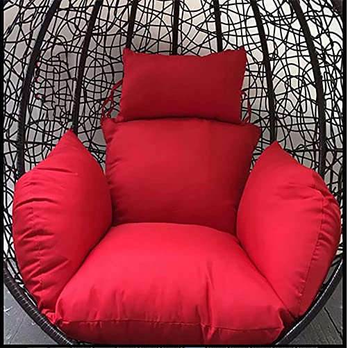 DULPLAY Hanging Egg Hammock Chair Cushions, Without Stand Swing seat Cushion Thick Nest Back with Pillow-red 125x60cm 49x24inch